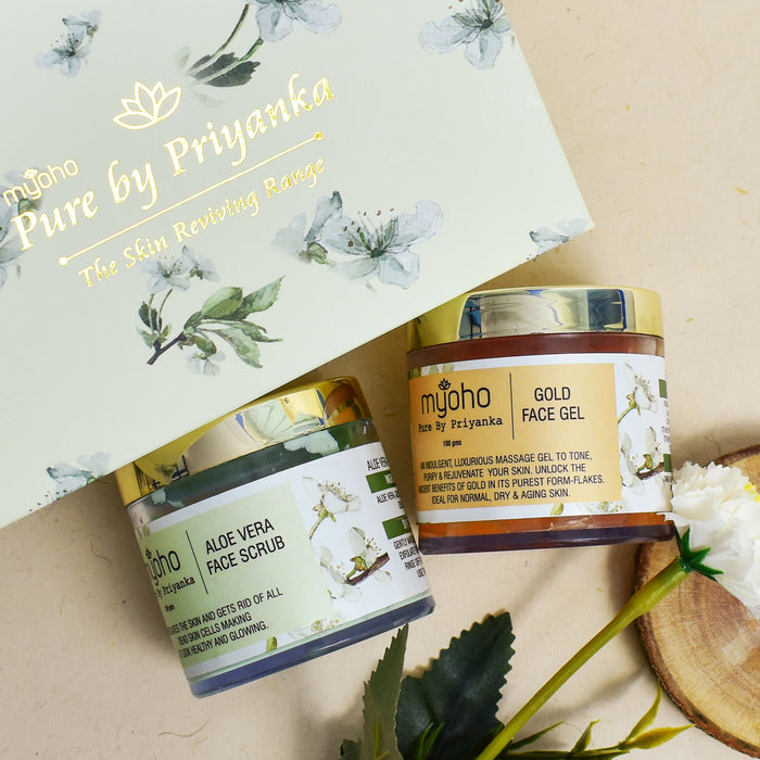 Aloe Vera Face Scrub and Gold Face Gel Duo Gift Box