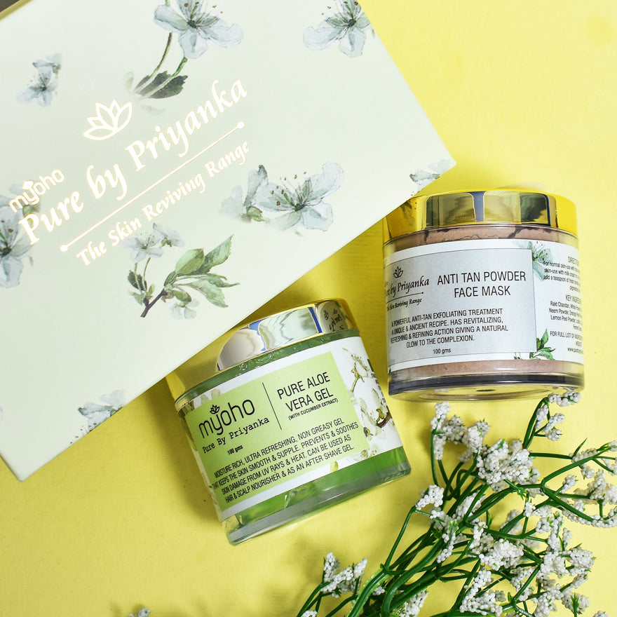 Anti Tan Powder Face Mask and Pure Aloe Vera Gel with Cucumber Duo Gift Box