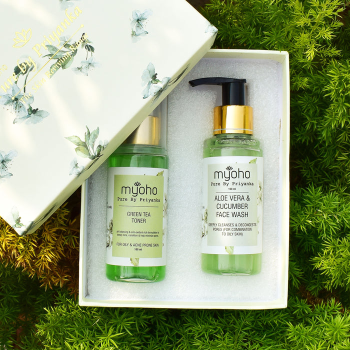 Aloe Vera & Cucumber Face Wash and Green Tea Toner Duo Gift Box (For Oily/Combination Skin)