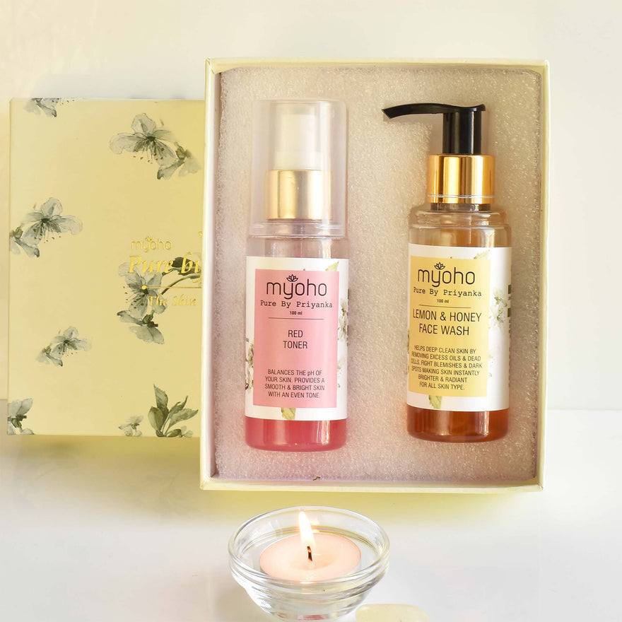 Lemon & Honey Face Wash and Red Toner Duo Gift Box (For Normal/Dry Skin)