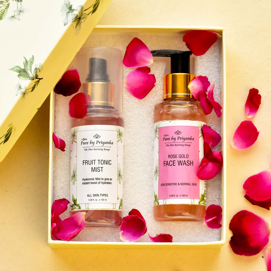 Rose Gold Face Wash and Fruit Tonic Mist Duo Gift Box