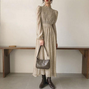 Vintage Stand Collar Ruched Sleeve A-line Dress Women Floral Print Elastic Waist Female Dress Spring Vestidos femme 202