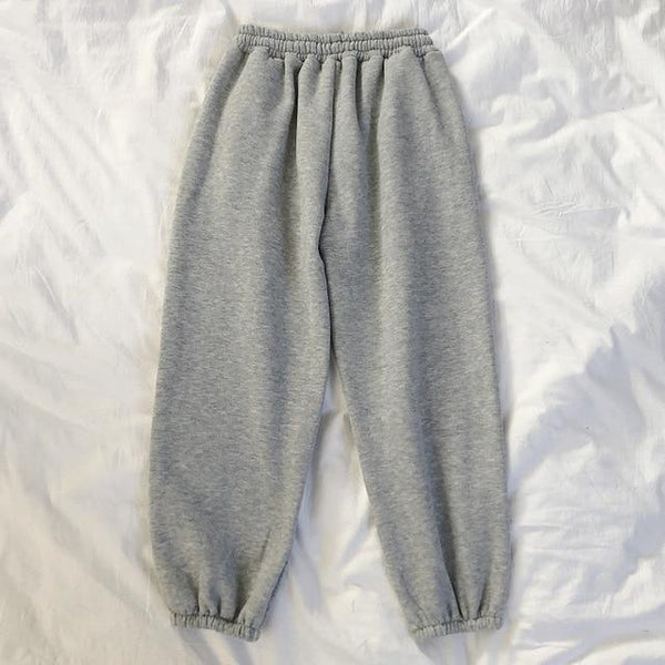 Winter Women Harem Pants Stripes Embroidery Gray Black Fleece Pants Bottom