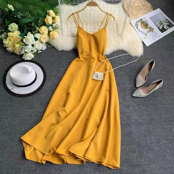 New-Coming Spring Summer Holiday Dress Cross Spaghetti Strap Open Back Solid Beach Style Ankle-Length Women Dresses