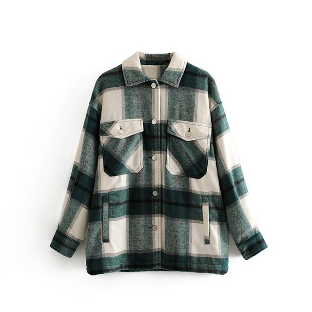 2020 Winter Women green plaid Long Coat Jacket Casual High Quality Warm Overcoat Fashion Long Coats 3H04