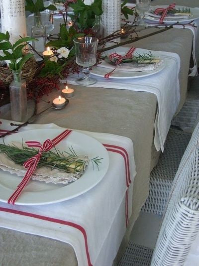 Table Setting White Herringbone Placemat