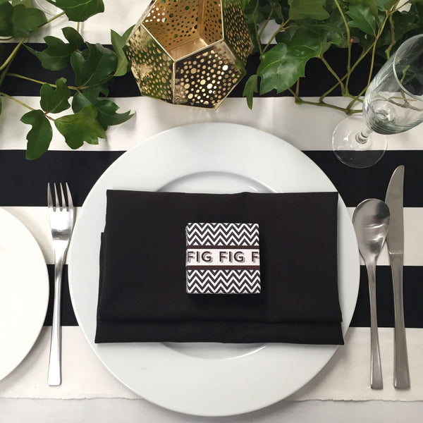 Table Setting Black Napkins
