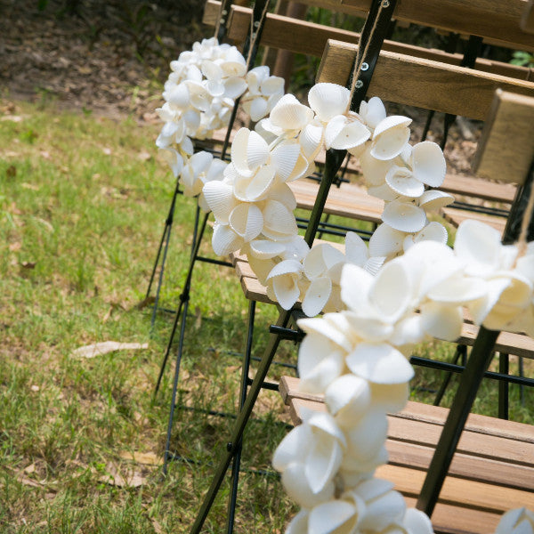 Ceremony Package Timber Arbor with Shell Wreaths