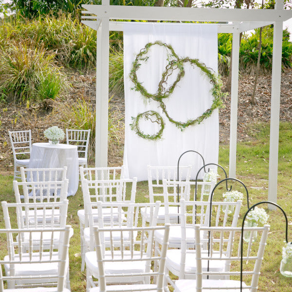 Ceremony Package White Timber Arbor and Tiffany Chairs