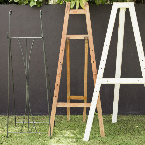 Wedding Prop Timber & Metal Easels