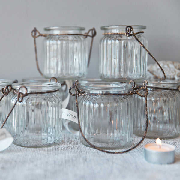 Candle Holder Hanging Glass Single