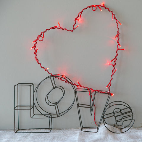 Wedding Prop Red Fairy Light Heart