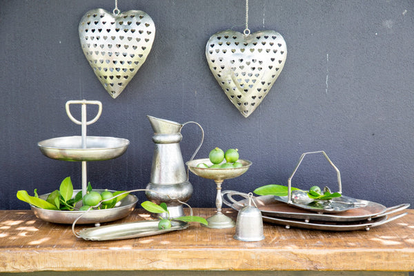 Table Setting Assorted Metal Plates, Platters & Tiered Stand Set