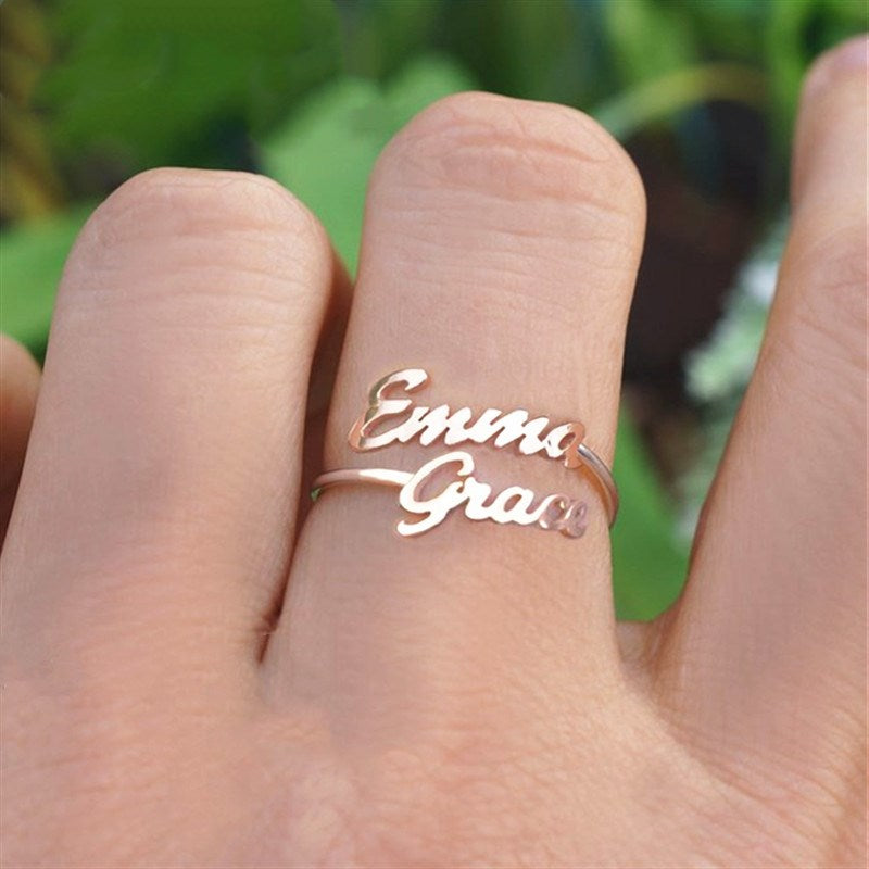 Personalized Double Multiple Name Ring In Silver