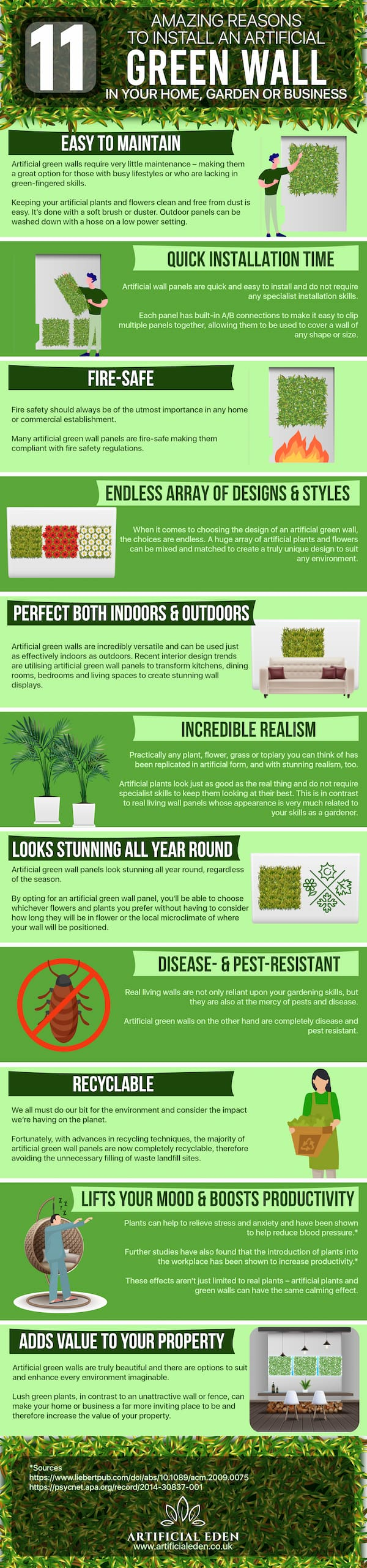 11 amazing benefits of artificial green living wall infographic