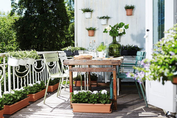 artificial plants on balcony