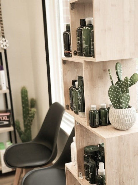 shelf in salon with artificial plants