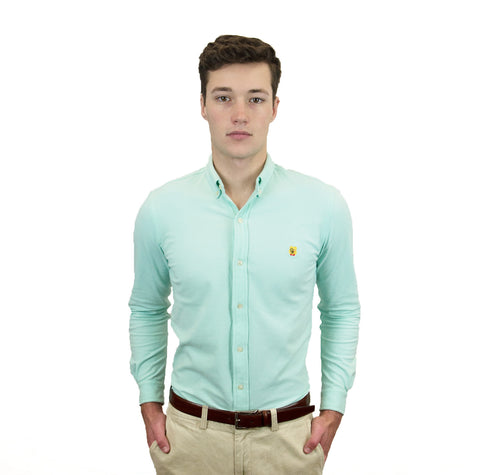 Ian Marko Seaport Green Mens Knitted Oxford Button-Down Shirt