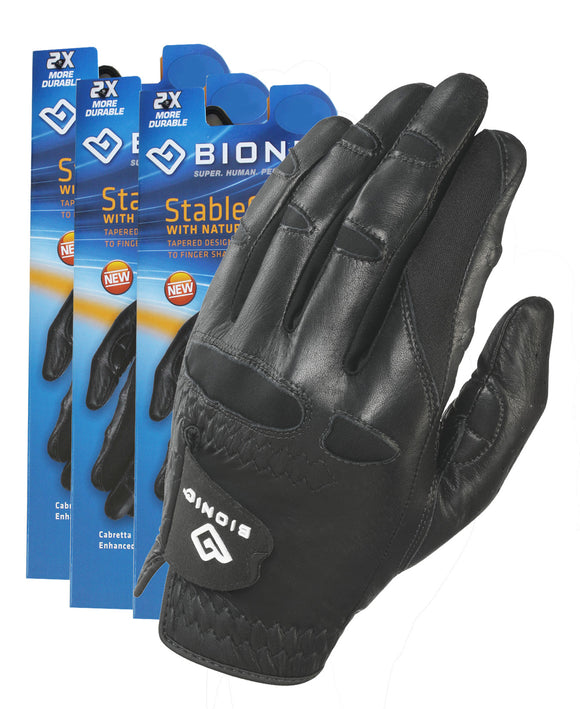 StableGrip Mens Golf Glove - Black - 3 Pack