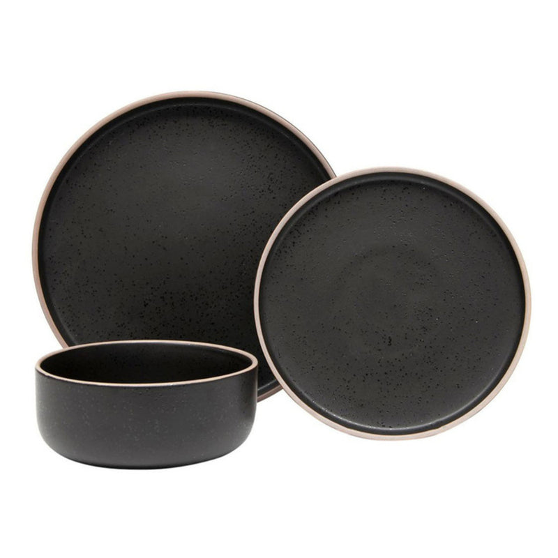 12pc S&P Hana Stoneware Dinner Set - Black