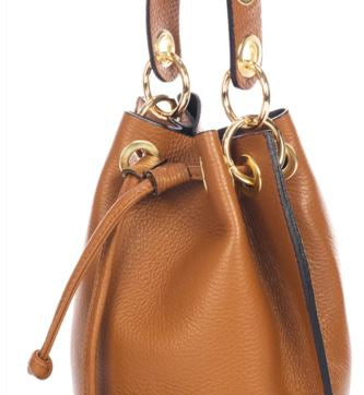 Italian Leather Markese Bucket Bag Cognac