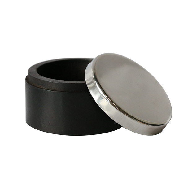 Round Wooden Box with Nickel Finish Lid
