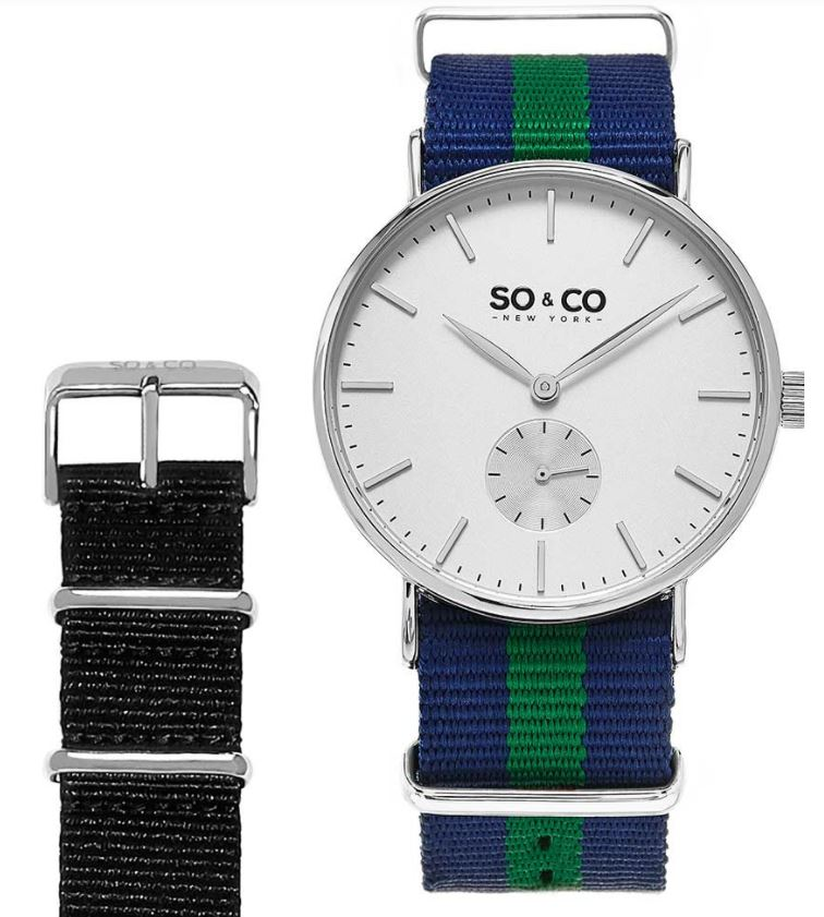 Men's Watch - Canvas Striped interchangeable Set / So&Co.