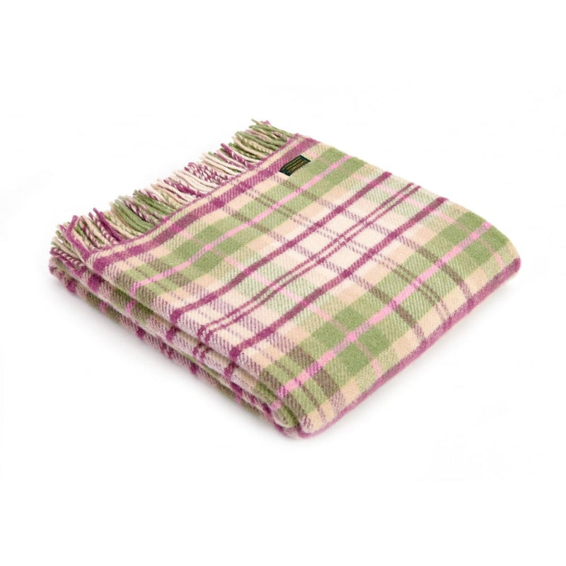 Pink Cottage Check Pure New Wool Blanket/Throw (made in Wales)