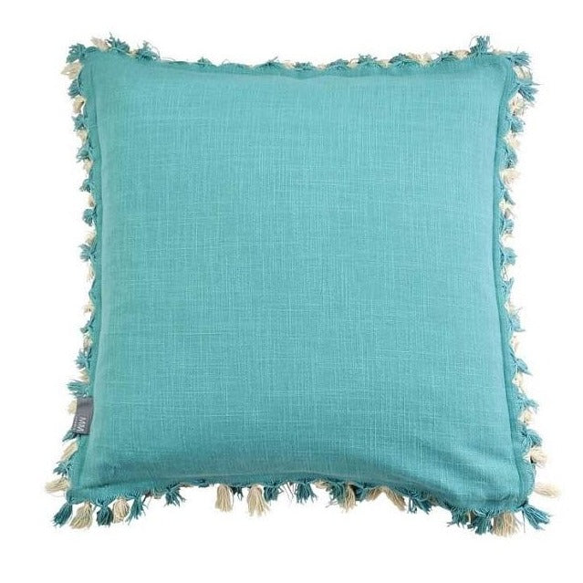 Two Tone Teal Tassel Cushion