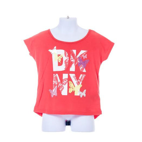 Girl's DKNY Short Sleeve T-shirt Butterfly Design