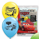 "Disney Cars Printed 12"" helium quality latex balloons."