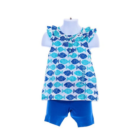 Girl's Carter's SleevelessTop Fish Design & Shorts