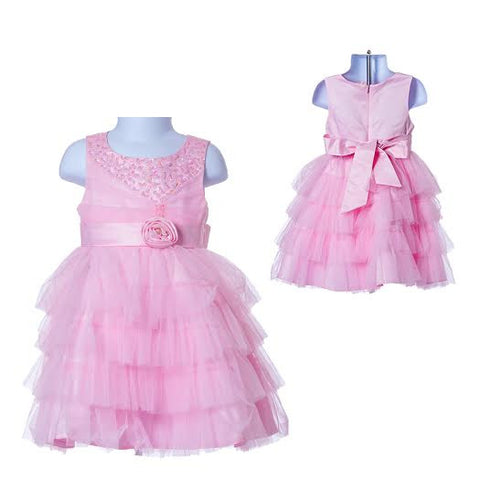 Girl's Princess Pink Flower Girl's Dress