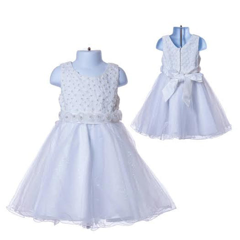 Girl's Princess White Flower Girl's Dress