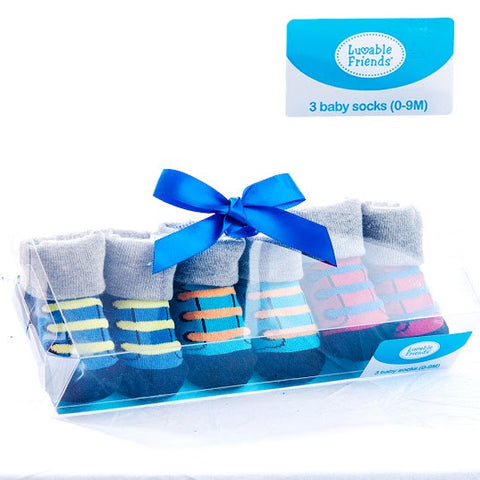 Luvable Friends Baby Boy's Little Shoe Socks 3 pcs Gift Set