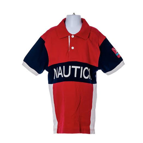 Boy's Nautica Polo Sleeve Collared Shirt