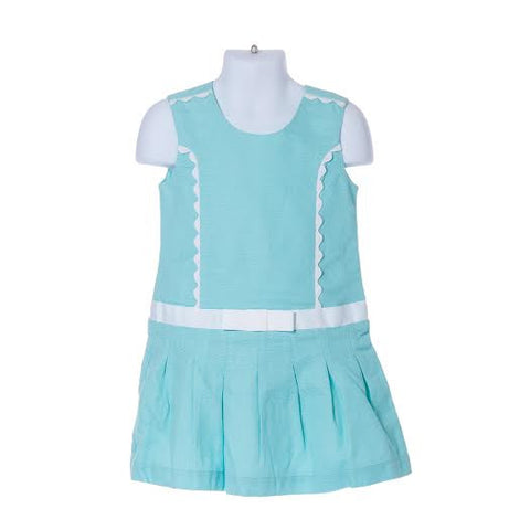 Girl's Tahari Short Sleeve Pleated Dress