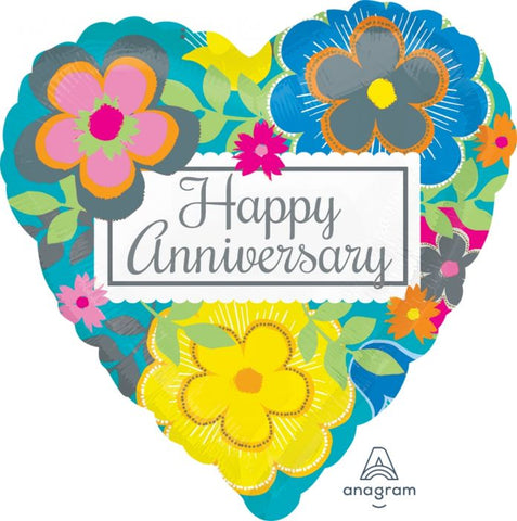 Bright Floral Happy Anniversary Foil Balloon
