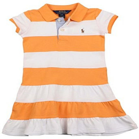Polo Ralph Lauren Big Girls' Hannah Stripe Pony Dress-Orange