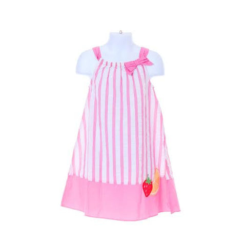 Fruit Pink White Stripe Sleeveless Dress