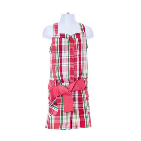 Gingham Sleeveless Overall Shorts With Belt