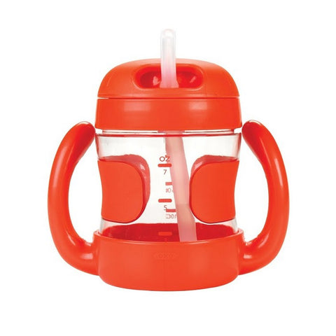 STRAW CUP WITH HANDLES (7 OZ.) - ORANGE