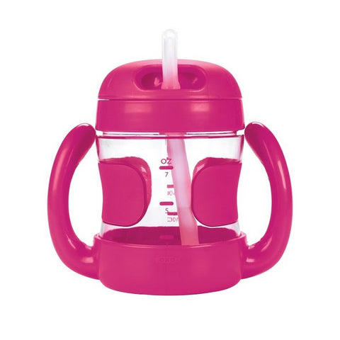 STRAW CUP WITH HANDLES (7 OZ.) - PINK