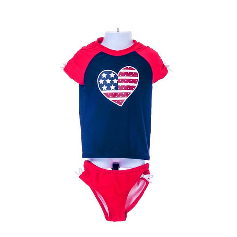 Girl's Heart American flag Swimwear