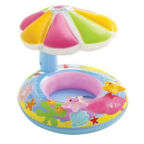 INTEX Fish & Friends Baby Float Inflatable Pool Tube Raft with Canopy