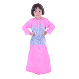 MK Girls Pink Abstract Blue Baju Kurung