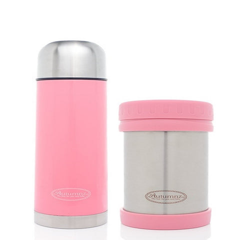 Autumnz - SS Vacuum Flask & Food Jar Set 500ml *Pink*