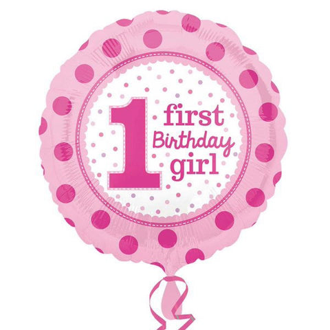 1 First Birthday Girl SuperShape Foil Balloon