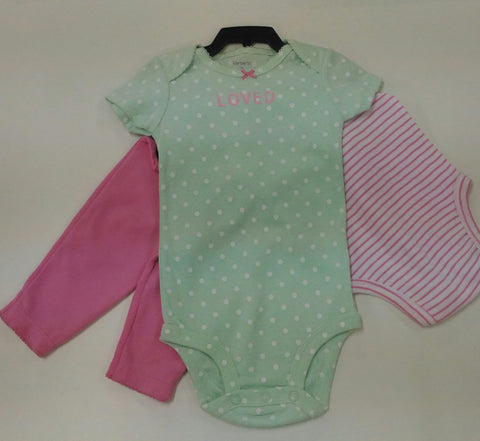 Carters Baby 3 PC Polkadot Green, Stripped Pink Shirts and Pink Long Pant
