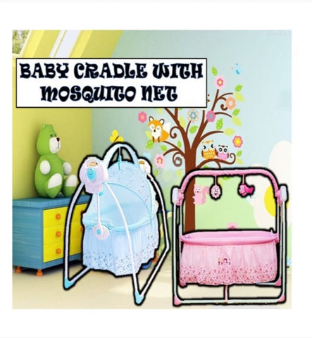 Baby cradle with mosquito net